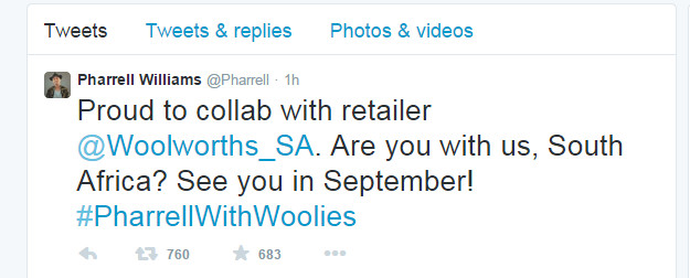 Pharrell Williams tweet South africa
