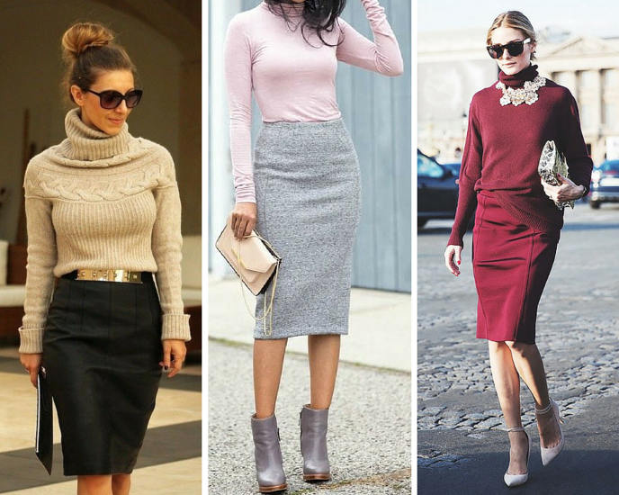 Polo neck and pencil skirt