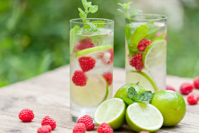 mint, lime and raspberry water