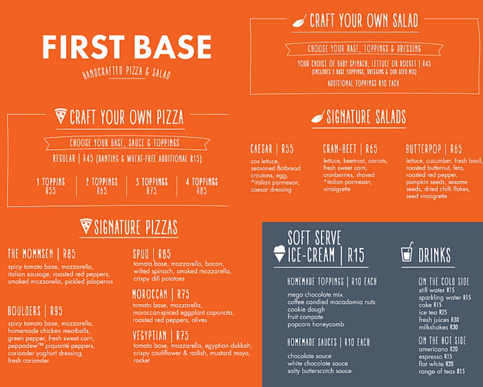 First Base Menu